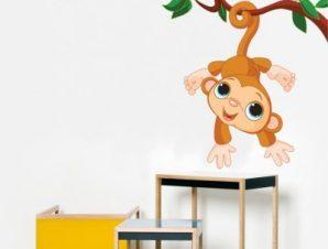 Πιθηκάκι Παιδικά Αυτοκόλλητα τοίχου 68 x 55 cm