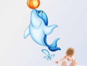 Δελφίνι με τόπι Παιδικά Αυτοκόλλητα τοίχου 38 x 65 εκ.