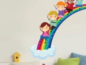 Oυράνιο τόξο Παιδικά Αυτοκόλλητα τοίχου 75 x 63 cm