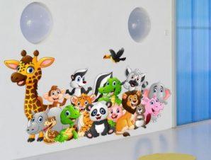 Ζώα εξωτικά Παιδικά Αυτοκόλλητα τοίχου 49 x 90 cm