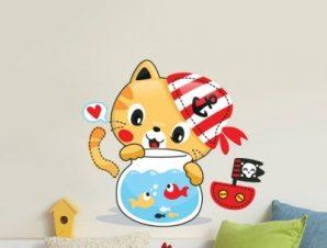 Γατάκι Παιδικά Αυτοκόλλητα τοίχου 55 x 50 εκ.