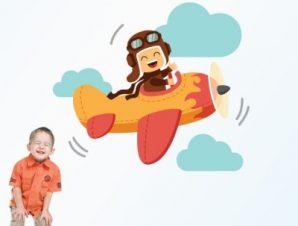Αεροπλανάκι με συνεφάκια Παιδικά Αυτοκόλλητα τοίχου 55 x 47 εκ.