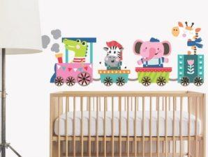 Τρενάκι Παιδικά Αυτοκόλλητα τοίχου 82 x 32 εκ.