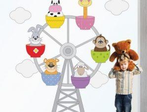 Ρόδα λούνα Πάρκ Παιδικά Αυτοκόλλητα τοίχου 60 x 58 cm