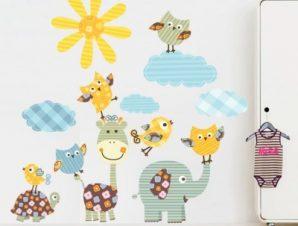 Ρετρό Ζωάκια Παιδικά Αυτοκόλλητα τοίχου 80 x 77 εκ.
