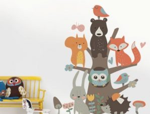 Παστέλ ζώακια Παιδικά Αυτοκόλλητα τοίχου 66 x 78 εκ.