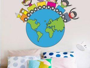 Γή Παιδικά Αυτοκόλλητα τοίχου 54 x 61 cm