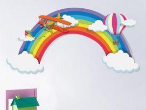 Ψηλά στον ουρανό Παιδικά Αυτοκόλλητα τοίχου 95 x 47 εκ.