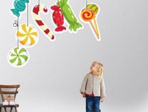 Καραμέλες Παιδικά Αυτοκόλλητα τοίχου 55 x 60 cm