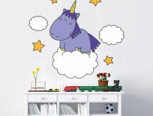 Μονόκερος Παιδικά Αυτοκόλλητα τοίχου 48 x 55 cm