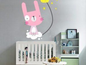 Λαγουδάκι ροζ Παιδικά Αυτοκόλλητα τοίχου 56 x 73 εκ.