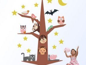 Ζωάκια πάνω στο δέντρο Παιδικά Αυτοκόλλητα τοίχου 64 x 50 cm