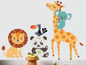 Ζωάκια χαρούμενα Παιδικά Αυτοκόλλητα τοίχου 60 x 84 cm