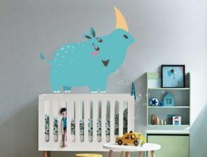 Ρινόκερος Παιδικά Αυτοκόλλητα τοίχου 65 x 60 εκ.