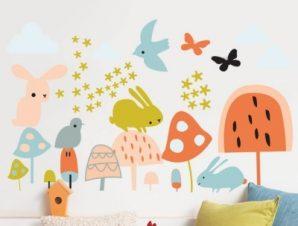 Ζωάκια σε παστέλ αποχρώσεις Παιδικά Αυτοκόλλητα τοίχου 60 x 36 εκ.