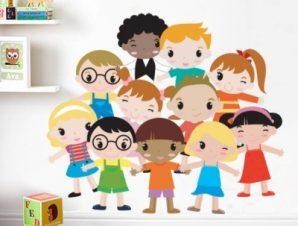 Χαρούμενα παιδάκια Παιδικά Αυτοκόλλητα τοίχου 54 x 65 cm