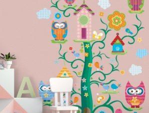 Δεντρόσπιτο και κουκουβάγιες Παιδικά Αυτοκόλλητα τοίχου 35 x 43 εκ.