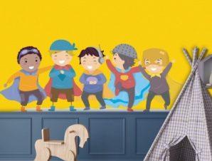 Φίλοι σούπερ ήρωες Παιδικά Αυτοκόλλητα τοίχου 65 x 25 εκ.