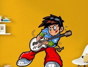 Αγοράκι που παίζει κιθάρα Παιδικά Αυτοκόλλητα τοίχου 40 x 40 εκ.