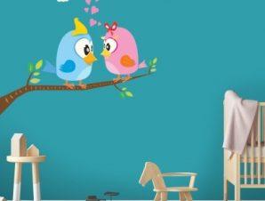 Ερωτευμένα πουλάκια Παιδικά Αυτοκόλλητα τοίχου 65 x 67 εκ.