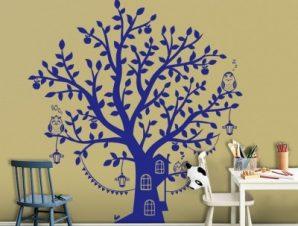 Μπλε δεντρόσπιτο Παιδικά Αυτοκόλλητα τοίχου 80 x 103 εκ.