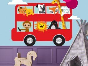 Λεωφορείο με ζωάκια Παιδικά Αυτοκόλλητα τοίχου 65 x 50 εκ.