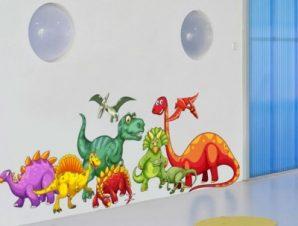 Παρέα από δεινοσαυράκια Παιδικά Αυτοκόλλητα τοίχου 65 x 22 εκ.