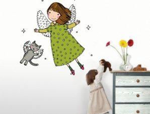 Νεράιδα και γατάκι Παιδικά Αυτοκόλλητα τοίχου 42 x 42 cm