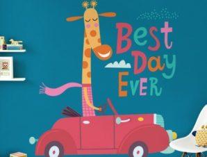 Best day ever Παιδικά Αυτοκόλλητα τοίχου 45 x 45 cm