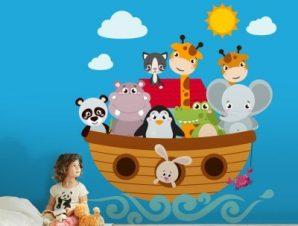 Ζωάκια σε βαρκούλα Παιδικά Αυτοκόλλητα τοίχου 35 x 38 εκ.