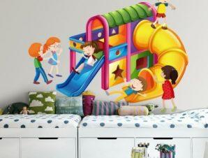 Τσουλήθρα, παιδική χαρά Παιδικά Αυτοκόλλητα τοίχου 35 x 28 εκ.