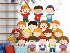 Ομαδική φωτογραφία παιδιών Παιδικά Αυτοκόλλητα τοίχου 45 x 45 εκ.