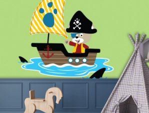 Πειρατική βάρκα Παιδικά Αυτοκόλλητα τοίχου 45 x 45 εκ.