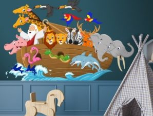 Κιβωτός του Νώε Παιδικά Αυτοκόλλητα τοίχου 65 x 45 εκ.