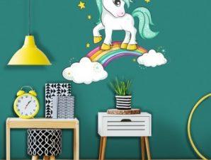 Πόνι πάνω σε ουράνιο τόξο Παιδικά Αυτοκόλλητα τοίχου 45 x 45 cm