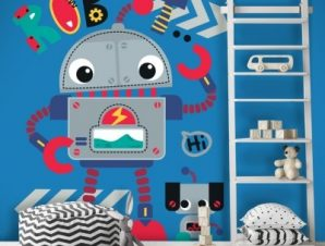 Ρομποτάκια Παιδικά Αυτοκόλλητα τοίχου 42 x 35 cm
