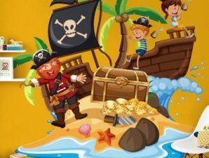 Πειρατές σε νησί Παιδικά Αυτοκόλλητα τοίχου 45 x 45 εκ.