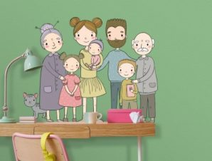 Οικογενιεακή φωτογραφία Παιδικά Αυτοκόλλητα τοίχου 65 x 51 εκ.