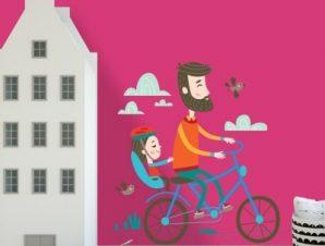 Βόλτες με ποδήλατο Παιδικά Αυτοκόλλητα τοίχου 45 x 45 εκ.