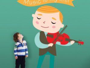 Αγόρι που παίζει βιολί Παιδικά Αυτοκόλλητα τοίχου 41 x 35 cm