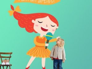 Κορίτσι καλλιτέχνης Παιδικά Αυτοκόλλητα τοίχου 35 x 52 εκ.