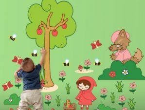 Κοκκινοσκουφίτσα Παιδικά Αυτοκόλλητα τοίχου 220×159 cm (card size)