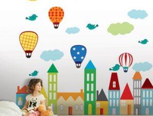 Πολύχρωμα αερόστατα Παιδικά Αυτοκόλλητα τοίχου 145Χ88cm (card size)
