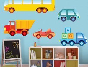 Διάφορα οχήματα Παιδικά Αυτοκόλλητα τοίχου 70×70 cm (card size)