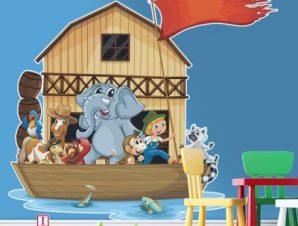Ο Νώε και τα ζώα Παιδικά Αυτοκόλλητα τοίχου 55 x 50 εκ.