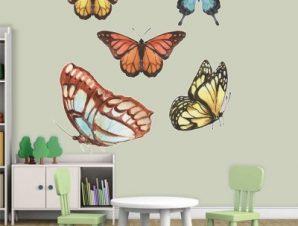 Πεταλούδες σε διάφορα χρώματα Παιδικά Αυτοκόλλητα τοίχου 55 x 55 εκ.