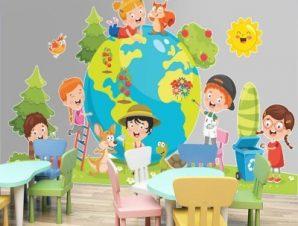 Υδρόγειος σφαίρα Παιδικά Αυτοκόλλητα τοίχου 70 x 40 εκ.
