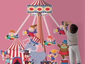 Καρουζέλο τσίρκο Παιδικά Αυτοκόλλητα τοίχου 55 x 57 εκ.