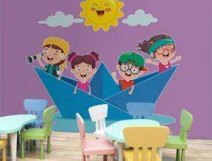 Χάρτινο καραβάκι Παιδικά Αυτοκόλλητα τοίχου 50 x 48 εκ.