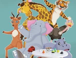 Ζώα που χορεύουν Παιδικά Αυτοκόλλητα τοίχου 55 x 51 εκ.